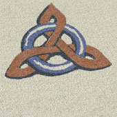 Dachmalerei, Mandalas, Symbole, Zeichen,  Kelten, keltisches, Kunst aufs Dach, bunter Splitt, Marmorsplitt, Granitsplitt, Quarzsplitt, Basaltsplitt, Kiesel, Kies