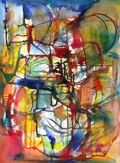 Harmonisch, beschwingte Formen in leuchtenden Farbtönen. Abstrakt. Rot, gelb, blau. Aqarelleffekt mit Tinten. Mit Zeichenkohle.