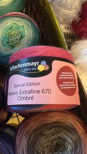 Special Edition Merino Extrafine 670 Ombre,  Zusammensetzung 100% Schurwolle,  Lauflänge ~670m / 160g,  Nadel-Nr. 2 - 3
