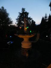 Am Abend wird unser Garten bunt beleuchtet.