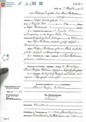 marriage certificate for Oskar and Fridl