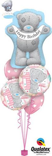 Ballon Bouquet Tatty Teddy 1. Geburtstag Happy Birthday Mädchen Junge Luftballon Folienballon heliumgefüllt Versand Kindergeburtstag Party Deko Dekoration Me to You