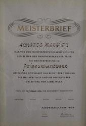 Meisterbrief Annette Jakobs