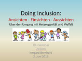 """Referat von Mag. Dr. Irmgard Bernhard zum Thema """"Inklusion"""" am ÖLI-APS-Seminar 2016 in Zeillern"""