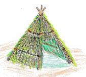 ひみつ基地(森の材料で作るティピー)