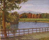 秋色の池   油彩20号