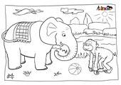 Malvorlage Elefant Affe