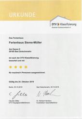 Ferienhaus Siems-Müller Bad Zwischenahn - DTV Klassifizierungsurkunde