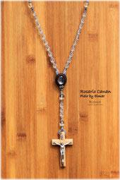 マクラメで編んだブランカオリジナルのロザリオネックレス 水晶と聖地ベツレヘムのオリーブウッドクロス