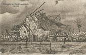 Zerschossenes Bauernhaus gemalt