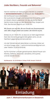 1. Wohnzimmerkonzert Chris James Gentle Voices Germany Heavens Joy