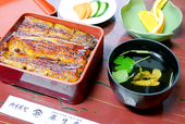 Grilled eel and rice in lacquered box