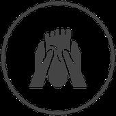 Symbol Hände umfassen Fuss