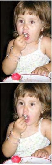 """Prima e dopo la """"cura"""". Gli occhi rossi sono stati corretti usando il  tool """"timbro clone"""" di un programma di fotoritocco."""