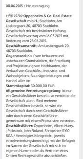Handelsregisterauszug der GmbH