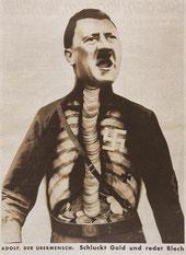 """""""Adolf le surhomme,il avale l'or et crache des insanités,(des balivernes)ou il débite de la camelote (du fer-blanc) """"."""