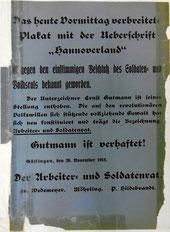 Plakat zur Verhaftung Gutmanns, 26.11.1918. StA Göttingen