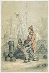 Jules Noël, Condamnés à temps, « Les Bagnes », 1844, dessin au crayon rehaussé de couleurs, collection musée des beaux-arts de Brest.