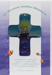 Kommunionkarte Ich bin bei dir Metall-Kreuz