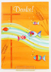 Kommunionkarte Danksagung Welle Fische 5er Set
