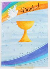 Kommunionkarte 5er Set Danksagung Regenbogen Kelch