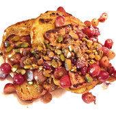 French Toast with Pistachios and Sweet Grapes