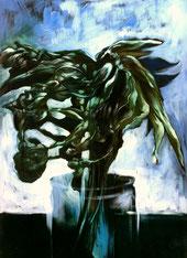"""Lukas Johannes Aigner, """"Auferstehung eines Blumenstraußes"""", Acryl/Öl auf Papier, 100x70 cm, 1998"""
