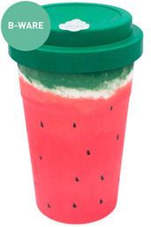 Bambusbecher Mehrweg, To Go Becher, Rot, Wassermelone, Grün