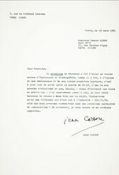 Lettre inédite de Jean Cassou sur Nietzsche