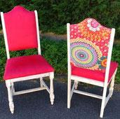 chaises année 60 rénovées par l'atelier de Sylvie