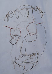 Mit links und verbundenen Augen gemalt. Ein Selbstportrait.