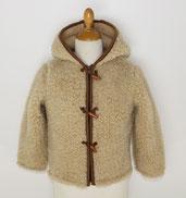 gilet enfant en laine naturelle de mouton avec capuche manche longue blouson veste cardigan hiver peaux fourrures pas cher site agneau lainage marron 2 ans 4 - 6 - 8 - 10 only mouton