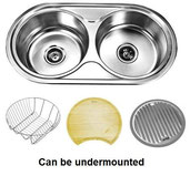 Undermount double round bowl stainless steel sink with dish rack, food board and drainer tray (can also be fitted as a drop in)