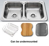 Undermount double square bowl stainless steel sink with dish rack, food board and drainer tray (can also be fitted as a drop in)