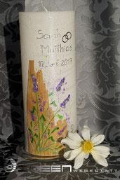 Kerze Holz Lavendel Hochzeit