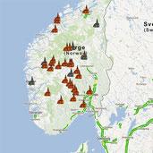 Googlekarte Stabkirchen Norwegen