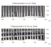 Rekonstruktionsschnitte: Stahlstäbe im oberflächennahen Bereich & Spannglieder bis in eine Messtiefe von 14 cm, Bildvergrößerung durch Mausklick