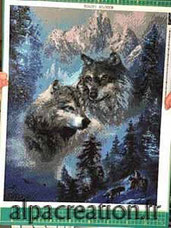 broderie diamant les loups