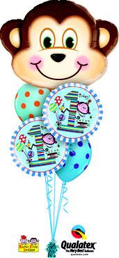 Folienballon Ballon Luftballon Heliumballon Strauß Ballonstrauß Bouquet Geburtstag Junge Mädchen 1 2 3 4 5 6 Rachel Ellen Punkte Kindergeburtstag Deko Dekoration Mitbringsel Überraschung Party Feier Affe  Versand verschicken