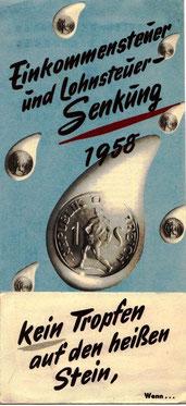 Tropfen auf den heißen Stein (Faltblatt zur Bewerbung des Sparkassenbuches 1958).