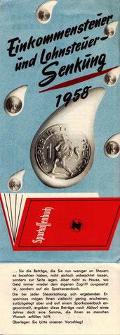 Faltblatt der Sparkasse, Sparkassenbuch 1958.