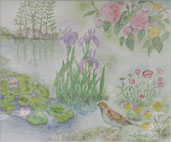 長居植物園の春 水彩8号