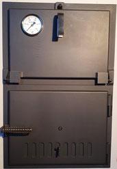 Doppeltüre normal, Licht-Licht 60 mm, (auch 80 oder 100mm lieferbar), mit oder ohne Thermometer, Heiztüre auch mit Sichtfenster, auf Wunsch in Z-Rahmen eingebaut