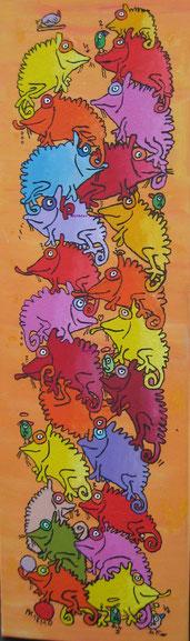 """""""unauffällig verstecken""""  Acryl auf Leinwand, 30/100 cm, Dezember 2010"""
