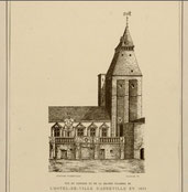 Vue du clocher et de la grande chambre de l'hôtel de ville d'Abbeville en 1685/ BM Fonds Macqueron