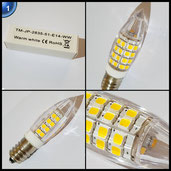 Liqoo® 10er E14 5W LED Leuchtmittel Ersatz für 35W Halogen 360 Lumen Warmweiß 2800K AC 220V - 240V 2835 SMD 270° Abstrahlwinkel Birnen Kronleuchter Mit Keramik Material Energiesparlampe [Energieklasse A+]