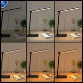 AUKEY 12W LED Schreibtischlampe Dimmbar Touch 5 Modi, 7 Helligkeitsstufen mit LED Nachtlicht, Auto Timer, USB Output Schwarz (LT-T10)