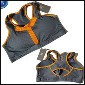 Yvette Damen Racerback High Impact Lauf Sport-BH #7043-Ohne Bügel orange