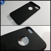 Schwarz Sehr Dünn Hülle Schutzhülle Case + Displayschutzfolie für Apple iPhone 7 Vooway® MS70191