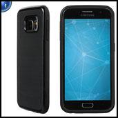 Ultratec Smartphone TPU Schutzhülle / Schale für Samsung Galaxy S6 in Kontrastoptik mit farbigem Rand, Schwarz